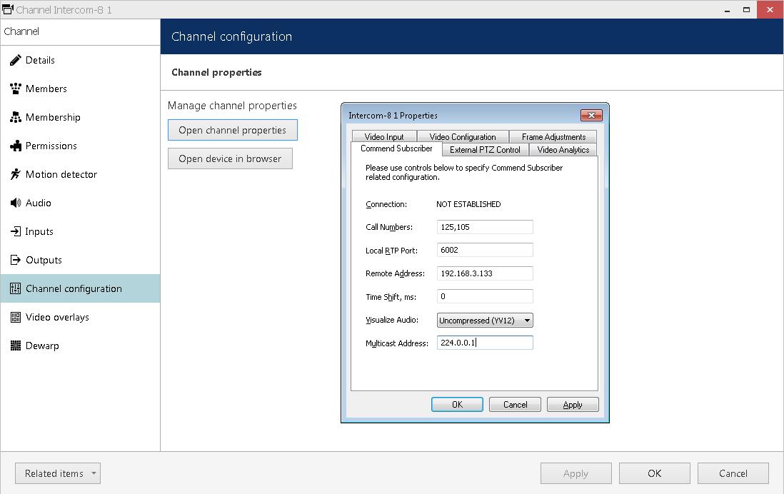 Enter intercom terminal settings